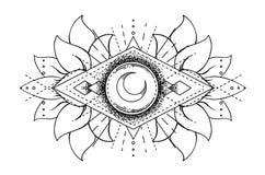 Vector ornamental Lotus flower, ethnic art, patterned Indian paisley. Hand drawn illustration. Invitation element. Tattoo, astrology, alchemy, boho and magic stock illustration