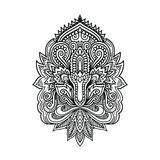 Vector ornamental Lotus flower, ethnic art, patterned Indian paisley. Hand drawn illustration. Invitation element Royalty Free Stock Photo