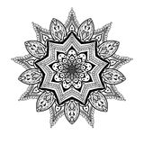 Vector ornamental Lotus mandala, ethnic zentangled henna tattoo. Patterned Indian paisley for adult anti stress coloring pages.  Hand drawn illustration in Stock Images
