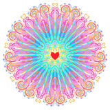 Vector ornamental mandala inspired ethnic art, patterned Indian Royalty Free Stock Images