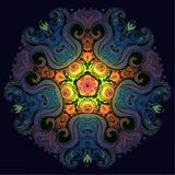 Vector ornamental mandala inspired ethnic art, patterned Indian. Paisley. Hand drawn illustration. Invitation element. Tattoo, astrology, alchemy, boho and stock illustration