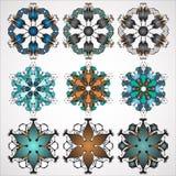 Vector ornamental Mandala set. Round pattern. Circle Tattoo. Royalty Free Stock Image