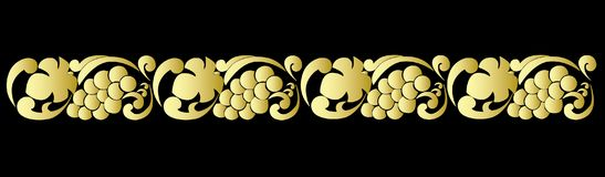 Vector ornamental pattern with golden grapes and grape leaves on black background Stock Photos