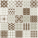 Vector ornamental seamless backdrops set, geometric patterns col Stock Photos