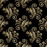 Vector ornamental seamless background. Vector seamless shining background with vintage floral pattern Stock Images