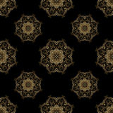 Vector ornamental seamless background. Vector seamless background with vintage floral elements. Gold on the black Royalty Free Stock Photos