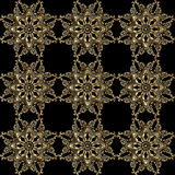 Vector ornamental seamless background. Vector seamless background with vintage floral elements. Gold on the black Stock Images