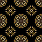 Vector ornamental seamless background. Vector seamless background with vintage floral elements. Gold on the black Royalty Free Stock Photo