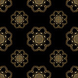 Vector ornamental seamless background. Vector seamless background with vintage floral elements. Gold on the black Stock Photo