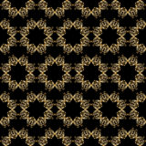 Vector ornamental seamless background. Vector seamless background with vintage floral elements. Gold on the black Stock Photography