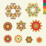 Vector ornaments. Vector ornamental flowers on white with color pallet Royalty Free Stock Photography
