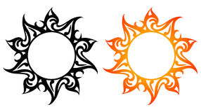 Vector ornaments, abstract sun, fire. Abstract sun, flower tattoo in black and color version Royalty Free Stock Photos