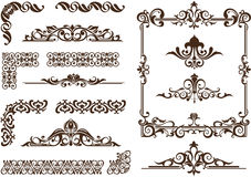 Vector ornaments frames, corners, borders. Vintage frames, corners, borders  with delicate swirls in Art Nouveau for decoration and design works with floral Royalty Free Stock Photo