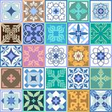 Set of green ceramic tiles. Glazed ceramic mosaic with Moroccan  Royalty Free Stock Photography