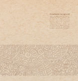 Vector ornate background. With copy space, brown ornament on old cardboard Royalty Free Stock Photos
