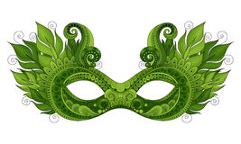 Vector Ornate Colored Mardi Gras Carnival Mask with Decorative Feathers Stock Images