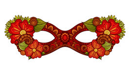Vector Ornate Colored Mardi Gras Carnival Mask with Decorative Flowers Stock Photos