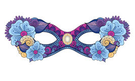 Vector Ornate Colored Mardi Gras Carnival Mask with Decorative Flowers Stock Photo