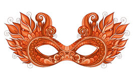 Vector Ornate Colored Mardi Gras Carnival Mask with Decorative Flowers Stock Images