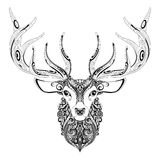 Vector Ornate Deer Horned Head Stock Photo