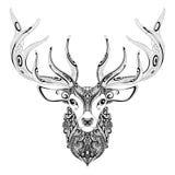 Vector Ornate Deer Horned Head Stock Photo