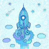Vector ornate doodles rocket starting to space Royalty Free Stock Photo