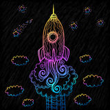Vector ornate doodles rocket starting to space Royalty Free Stock Image