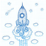 Vector ornate doodles rocket starting to space Royalty Free Stock Photography
