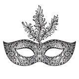 Vector ornate floral Venetian carnival mask with feathers. Royalty Free Stock Photos