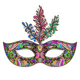 Vector ornate floral Venetian carnival mask with feathers. Royalty Free Stock Photo