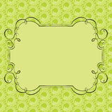 Vector ornate frame on green retro background Stock Images