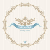 Vector ornate frame in Victorian style. Decorative element for design and place for text. Ornamental lace pattern for wedding invitations and greeting cards Stock Photography