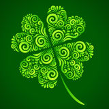 Vector ornate lucky clover on green background Stock Photos