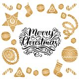 Vector ornate Merry Christmas lettering with New Year elements. Happy Holidays typography for greeting card template. Vector ornate Merry Christmas lettering Royalty Free Stock Photography
