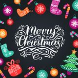 Vector ornate Merry Christmas lettering with New Year elements. Happy Holidays typography for greeting card template. Vector ornate Merry Christmas lettering Stock Images