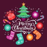 Vector ornate Merry Christmas lettering with festive New Year elements. Happy Holidays typography for greeting card. Vector ornate Merry Christmas lettering Royalty Free Stock Photos