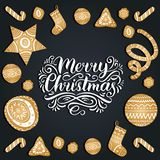 Vector ornate Merry Christmas lettering with New Year elements. Happy Holidays typography for greeting card template. Vector ornate Merry Christmas lettering Royalty Free Stock Image