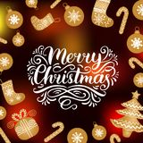 Vector ornate Merry Christmas lettering with New Year elements. Happy Holidays typography for greeting card template. Vector ornate Merry Christmas lettering Stock Image