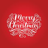 Vector ornate Merry Christmas lettering with New Year elements. Happy Holidays typography for greeting card template. Vector ornate Merry Christmas lettering Stock Photography