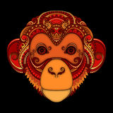 Vector Ornate Monkey Head. Patterned Tribal Colored Design Royalty Free Stock Images