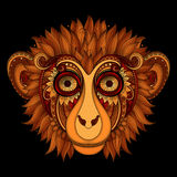Vector Ornate Monkey Head. Patterned Tribal Colored Design Stock Image