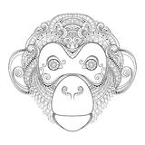 Vector Ornate Monkey Head Royalty Free Stock Photography