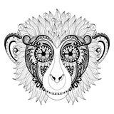 Vector Ornate Monkey Head Royalty Free Stock Images