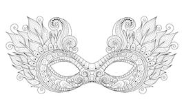 Vector Ornate Monochrome Mardi Gras Carnival Mask with Decorative Feathers Royalty Free Stock Photos
