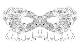 Vector Ornate Monochrome Mardi Gras Carnival Mask with Decorative Flowers Stock Images