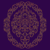 Vector ornate oval element in Eastern style on deep violet background. Ornamental vintage ornament for wedding invitations and gre Stock Images