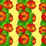 Vector ornate poppy flowers seamless pattern Stock Image