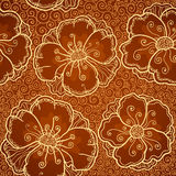 Vector ornate poppy flowers seamless pattern Stock Photo