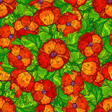 Vector ornate poppy flowers seamless pattern Royalty Free Stock Photography