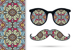 Vector ornate retro sunglasses mustaches and. Seamless floral geometric pattern, hipster fashion illustration Royalty Free Stock Image